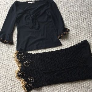 Small Nanette Lepore top and skirt with beading